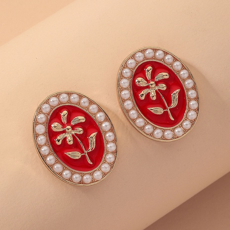 retro oval small flower pearl earrings NHNJ317515's discount tags