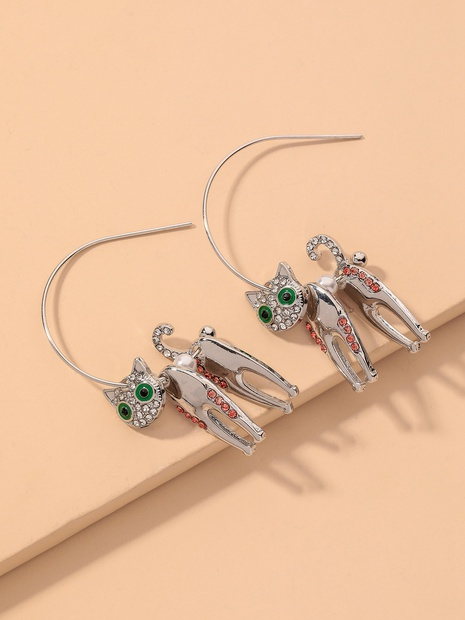 diamond-studded kitten earrings NHNJ317520's discount tags