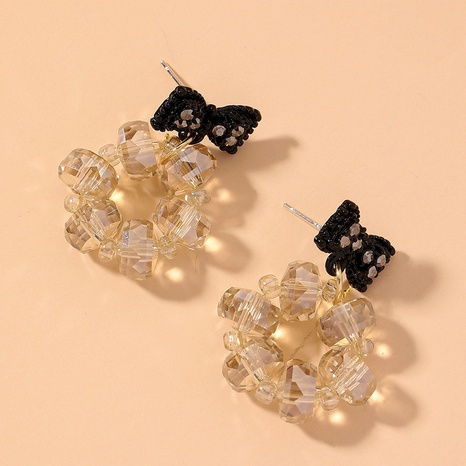 black bow round crystal earrings NHNJ317523's discount tags