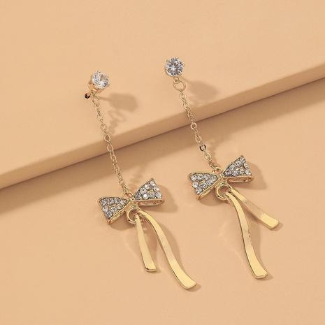 golden bow long tassel earrings  NHNJ317527's discount tags