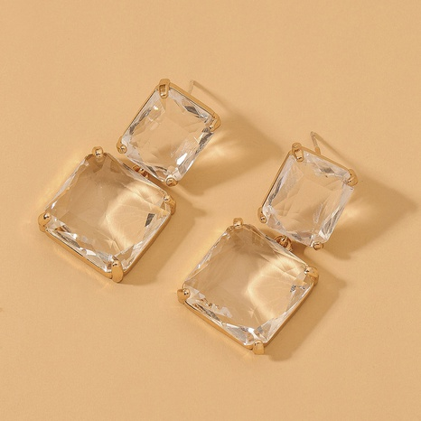 transparent square crystal earrings  NHNJ317530's discount tags