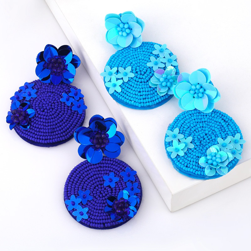 fashion flower rice bead earrings NHAS317541