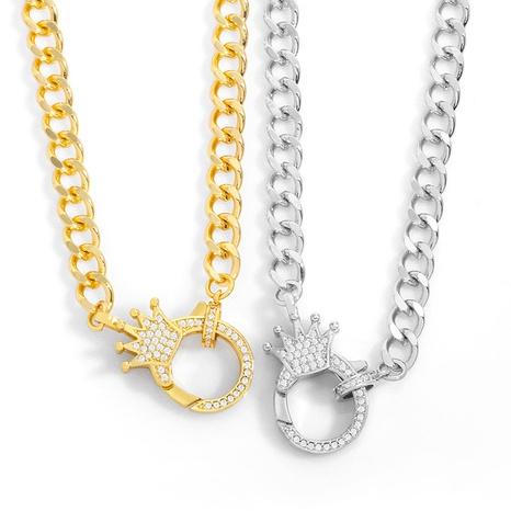 hip hop punk fashion diamond crown pendant necklace NHAS317537's discount tags