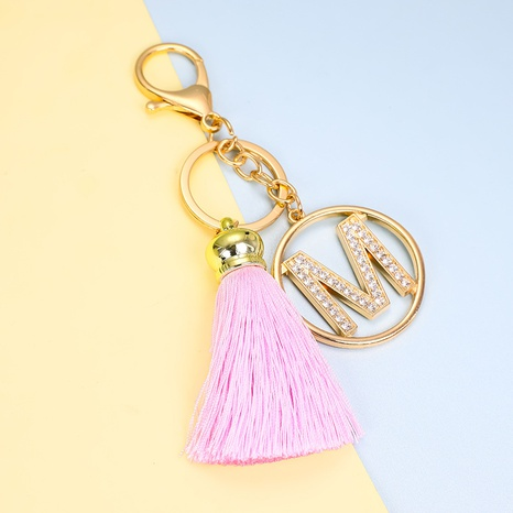 Pink Tassel Gold Diamond Letters Alloy KeyChain NHAP317677's discount tags