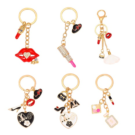 Alloy rhinestone charm lipstick perfume key chain NHAP317679's discount tags