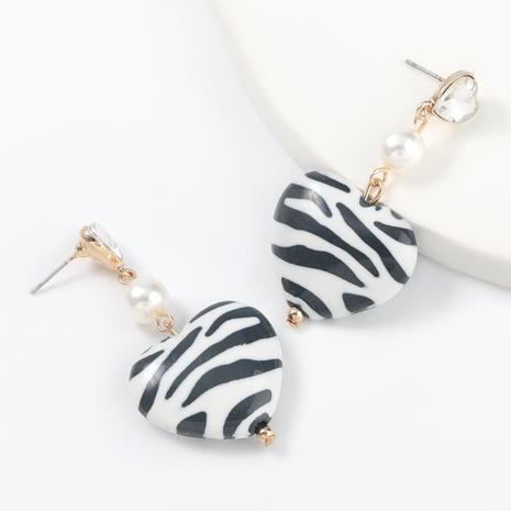 Creative fashion black white pattern love heart-shaped resin earrings  NHJE317795's discount tags