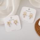 Korea fashion zircon water drop bowknot circle earrings NHMS317811