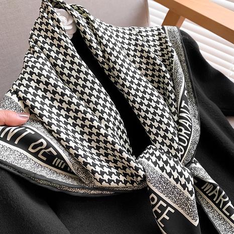écharpe carrée élégante à pois noir et blanc NHCJ317828's discount tags