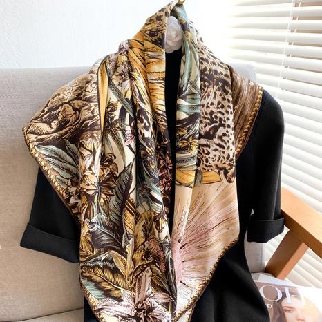 retro flower sea animal twill satin big square scarf NHCJ317845's discount tags