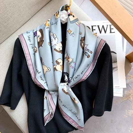 Foulard en soie à motif de dessin animé simple coréen NHCJ317852's discount tags