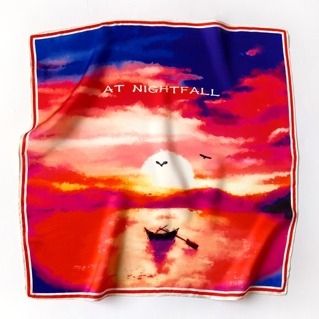 Oil painting sunset silk scarf  NHCJ317878's discount tags