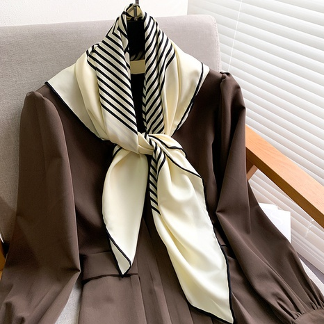 Foulard en soie imprimée à rayures classique coréen NHCJ317908's discount tags