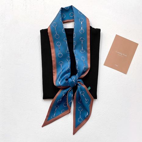 Petit foulard en soie rayé simple coréen NHCJ317910's discount tags