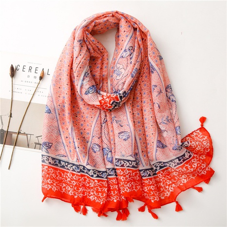 simple red fashion silk scarf NHGD317919's discount tags