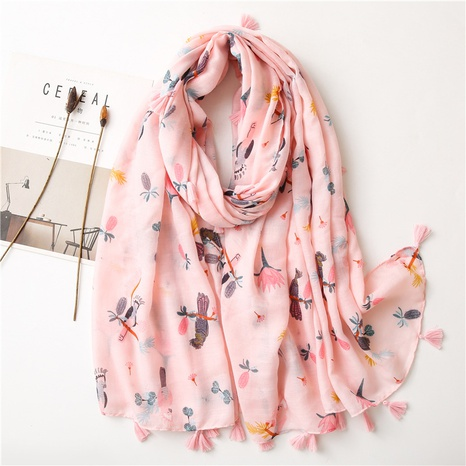 new pink fringed parrot korean long wild silk scarf NHGD317931's discount tags