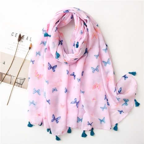 Pink cotton and linen shawl long silk scarf NHGD317933's discount tags