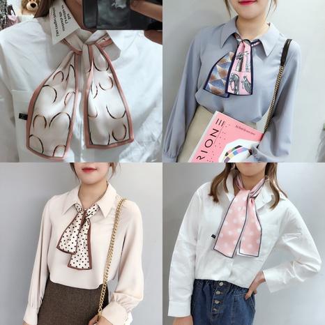 foulard en soie à motif pied-de-poule multifonction NHCM317952's discount tags