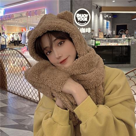 fashion bear ear woolen yarn hat scarf gloves three-piece suit NHCM318015's discount tags