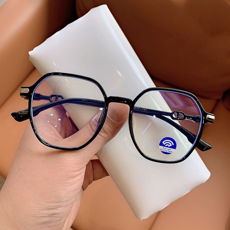 Anti-Blue Light Polygon Large Frame Flat glasses NHKD317667