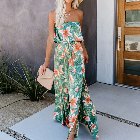 Summer new style printed off-shoulder ruffled dress with slit NHJG318033's discount tags