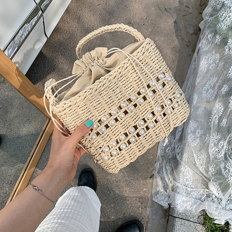 Fashion woven retro pearl straw bag NHTG318064's discount tags