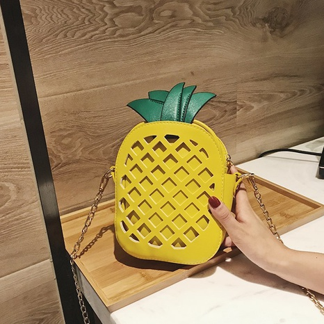pineapple PU creative shoulder bag NHTG318090's discount tags