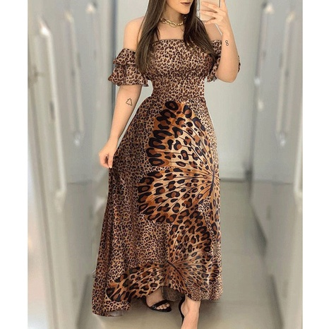 one-shoulder big hem print dress  NHJC318323's discount tags