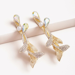 Mermaid tail imitation pearl crystal hairpin NHGE314260