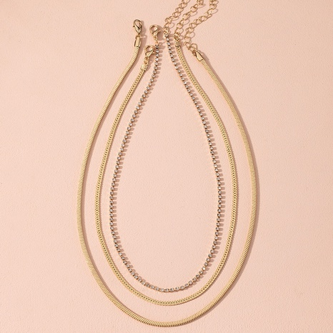 Creative fashion simple multilayer metal necklace NHAI314280's discount tags