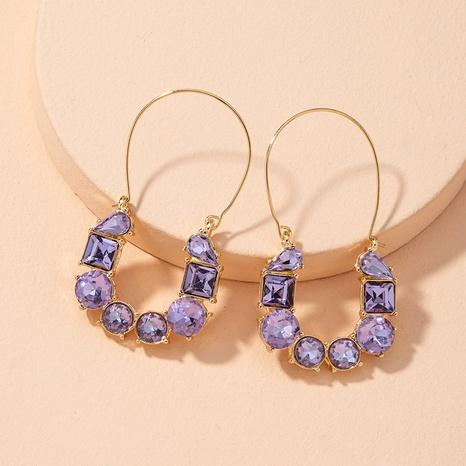boucles d'oreilles rétro en diamant violet NHAI314283's discount tags
