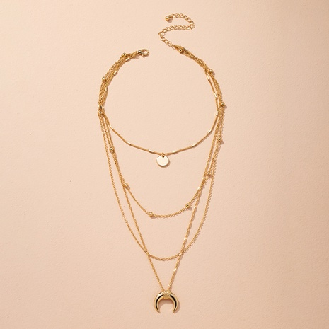 hip-hop crescent multi-layer pendant necklace NHAI314288's discount tags