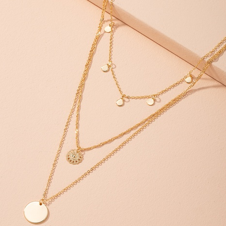 metal hollow pendant simple multi-layer necklace NHAI314291's discount tags