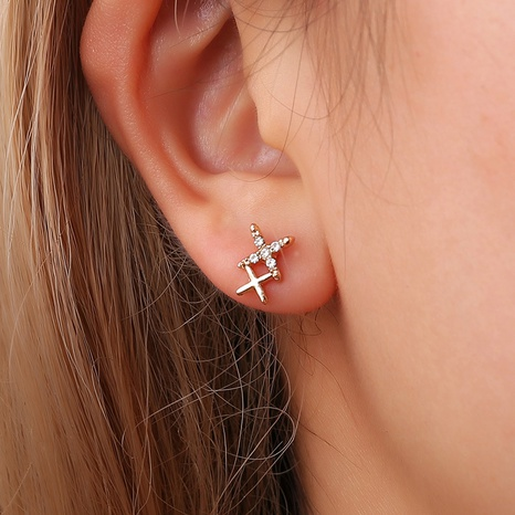 Korean fashion diamond double X letter earrings NHDP314308's discount tags