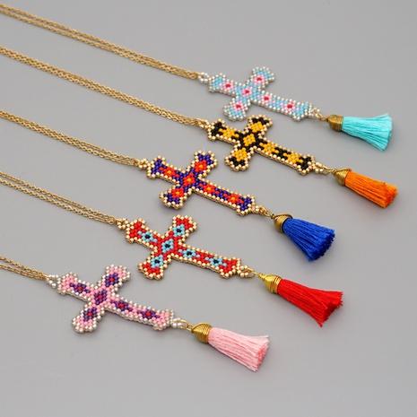 collar retro cruz de cuentas de miyuki NHGW314320's discount tags