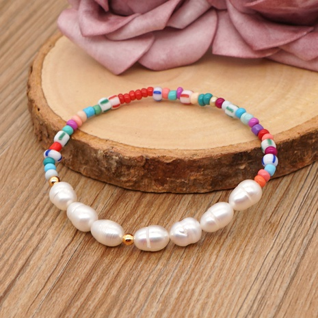 Simple bohemian style freshwater pearl beaded bracelet NHGW314347's discount tags