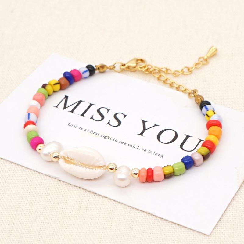 Bracelet en perles de couleur baroque simple NHGW314348