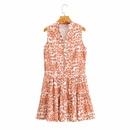Vestido floral sin mangas y abotonadura sencilla con cuello de pico NHAM314359