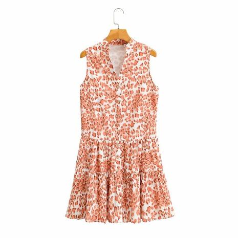 Einreihiges ärmelloses Blumenkleid mit V-Ausschnitt NHAM314359's discount tags
