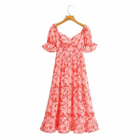 vestido retro con volantes y manga abullonada con cuello cuadrado y estampado de hojas NHAM314364's discount tags