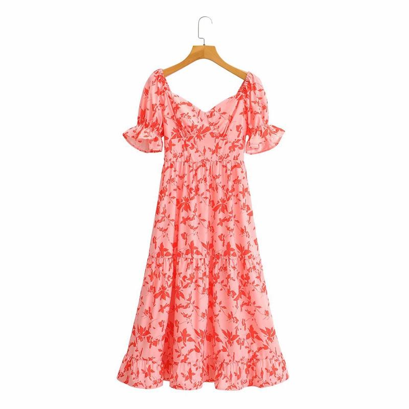 vestido retro con volantes y manga abullonada con cuello cuadrado y estampado de hojas NHAM314364