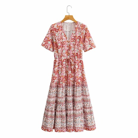 Falda estampada dividida en la cintura con cordón de cuello en V NHAM314365's discount tags