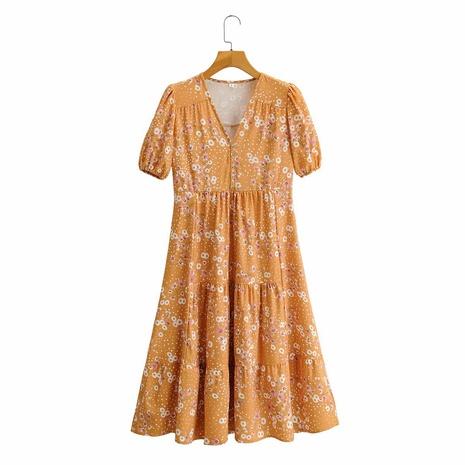 vestido estampado dulce con manga abullonada y botones con cuello en V de cintura alta NHAM314366's discount tags