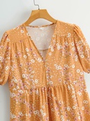 vestido estampado dulce con manga abullonada y botones con cuello en V de cintura alta NHAM314366