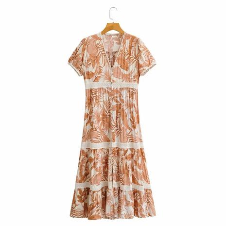 vestido de manga corta con cuello en V y volantes estampados con costuras NHAM314368's discount tags