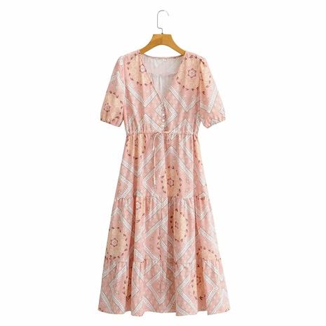vestido de encaje ondulado con manga abullonada y cintura alta NHAM314369's discount tags