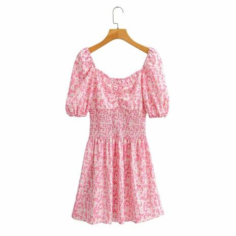falda corta floral con cintura elástica y cuello cuadrado con manga abullonada NHAM314370's discount tags