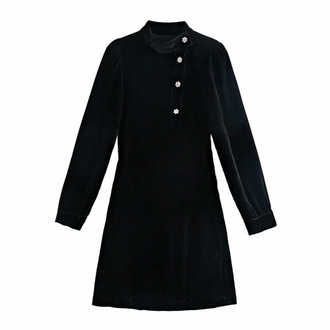 mini vestido de terciopelo negro con botones NHAM314372's discount tags