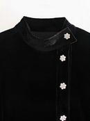 mini vestido de terciopelo negro con botones NHAM314372