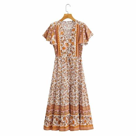 bedrucktes kurzärmeliges Kleid mit V-Ausschnitt NHAM314373's discount tags