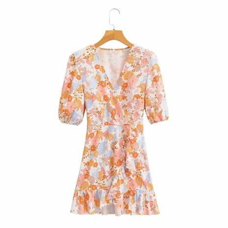 Vestido estampado con cuello de pico y manga abullonada NHAM314376's discount tags